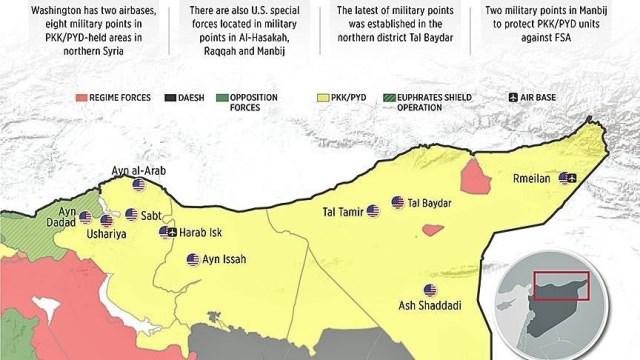 """تقرير تركي يكشف القواعد الأمريكية في سوريا، و""""البنتاغون"""" : """"يعرض قواتنا للخطر"""""""